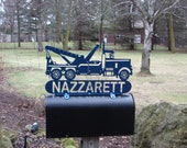 Tow Truck MAILBOX TOPPER Metal Address Sign Business Plaque