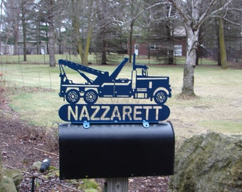 Tow Truck MAILBOX TOPPER Metal Address Sign Business Plaque