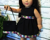 """18"""" Doll Clothes, Black Peace Doll Dress and Purse, 18"""" Doll Dress, Girl Birthday Gift, 18"""" doll clothes American handmade"""