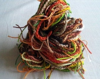 Hand Crochet Art Yarn, Autumn Harvest Colorway, Recycled Cotton Embroidery Thread, 30 yards