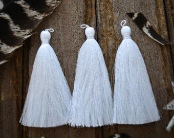 """Bright White, 3"""" Luxe Silk Tassels, Solid Color Jewelry Tassel, 2 pcs, Handmade Tassels, Jewelry Tassels, Tassel, Tassels for Jewelry"""