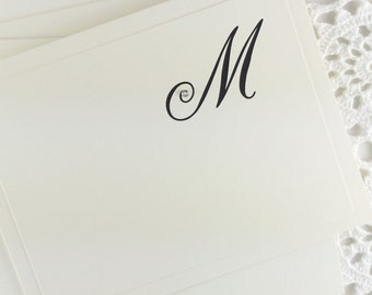 Personalized Stationery with Initial Embellished Stationary with Rhinestone Blank Note Cards by Lime Green Rhinestones