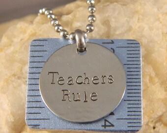 TEACHERS RULE Metallic Blue Ruler Necklace