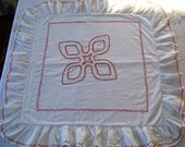 "Antique German Redwork Embroidery European 23"" Square Handmade Pillow Sham"