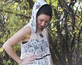 upcycled clothing, sustainable fashion, hooded lace top . turn it up .  XS - S