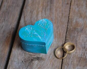 Blue Wedding Ring Bearer Box - Beach Wedding - Pillow Alternative