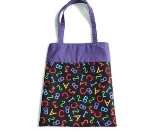 Handmade Fabric School Gift/Goodie Bag - Letters and Numbers
