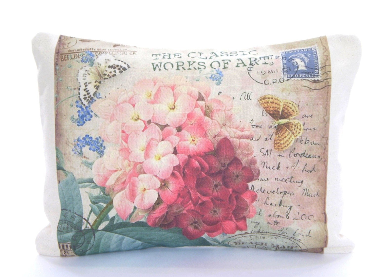 Ready Made Decorative Pillow Covers : READY TO SHIP Pink Hydrangea Pillow Cover Decorative Throw