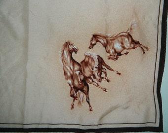 "Vintage Painted Horses Scarf Palomino American Saddle Amazing Double Sided 20"" with Border"