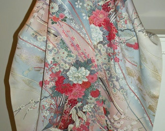 Cranes Scarf/Shawl/Wrap/Cherry Blossom/Bridal/Wedding Gift/Florals/Japanese Silk Kimono Fabric/Rose/Pink/Blue/Gray/Gold/ Clutch to match