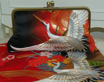 Handmade Silk Kimono Fabric Bag/Purse/Clutch/Embroidered Crane/Long Island bride Wedding Gift/Red/Gold/Ivory/Black/Cherry Blossom/Wrap/Shrug
