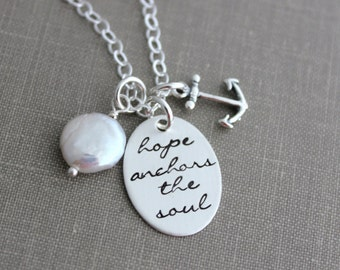 hope anchors the soul, sterling silver, anchor charm, Freshwater white coin pearl, Hand stamped quote, Inspirational Jewelry Hebrews 6:19