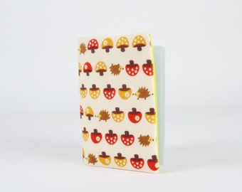 Fabric card holder - Little hedgehogs and mushrooms on red and yellow / Kawaii japanese fabric / neon green / brown