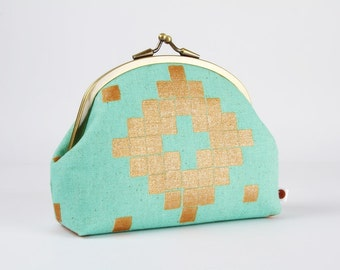 Metal frame purse with two sections - Canvas tile metallic copper - Maxi pop up / Alexia Abegg / Mesa / Tribal geometric / mint green ochre