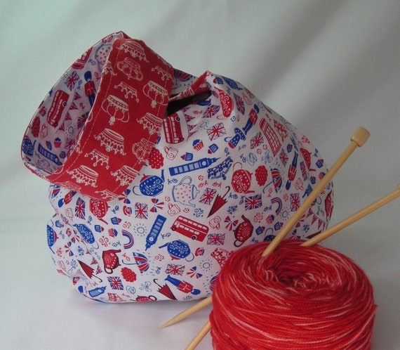 Knitting Project Bags For Sale : Sale crochet knitting project bag british fabric amigurumi
