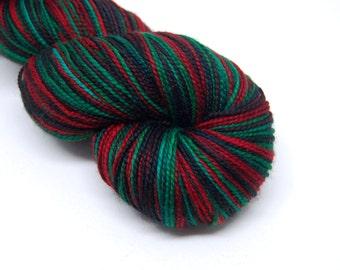 "DYED TO ORDER - Acoustic Sock Yarn - ""Goth Christmas"" - Handpainted Superwash Merino - 400 Yards"