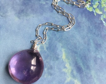 Purple Rain: natural amethyst pendant; amethyst gemstone necklace; wedding jewelry; spring; purple stone necklace