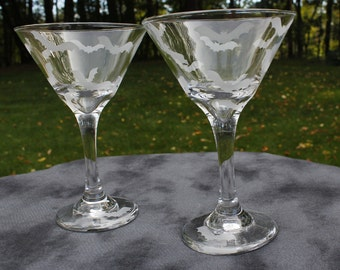 A Little Batty Martini Etched Glasses Set Of 2 with bat on base