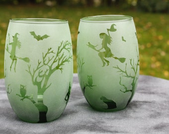 Green Witchy Night Frosted Stemless Wine Glasses or Candle holders Set Of 2