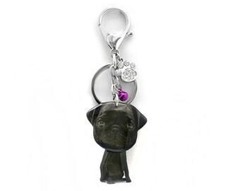 Cute Black Pug Puppy Dog Shaking Head Keychain / Bag Charm - SB050-KB