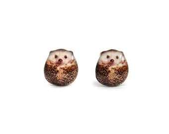 Hedgehog Stud Earrings / Hedgehog earrings / Hedgehog jewelry / Hedgehog lover / animal earrings / tiny earrings / cute earrings /A025ER-E09