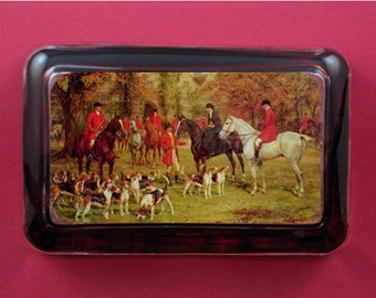 Fox Hunt Paperweight, Horse Paperweight, English Fox Hunt, Fox Hunt Painting, The Meet Painting, Heywood Hardy, Glass Paperweight