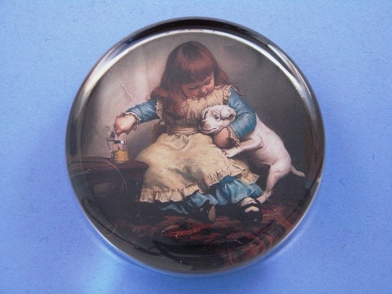 "Puppy ""Once Bit, Twice Shy"" Charles Burton Barber Painting Dog Lover Large Round Glass Paperweight Home Decor"