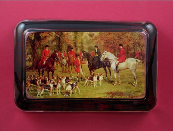 """English Fox Hunt """"The Meet"""" Heywood Hardy Painting Rectangle Glass Paperweight Equestrian Decor Horse Lover"""