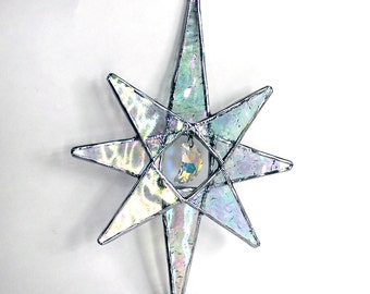 Swarovski Crystal Moon Star -  Stained Glass Star - Ornament - Christmas