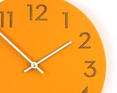 10 inch orange spice wall clock with modern numbers