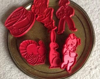 6 Vintage Tupperware Cookie Cutters, 1970s, Bunny, Gingerbread Man, Pig, Birthday, Turkey, Santa