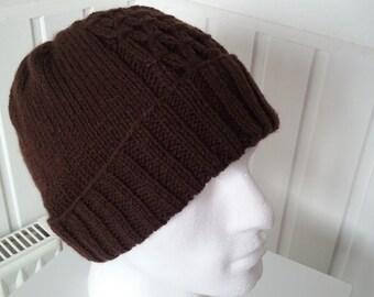 Mens Knit Beanie in Colour Dark Brown