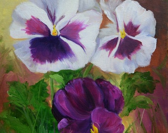Pansies and Violet Floral Still Life Painting, Original Canvas Oil Painting by Cheri Wollenberg