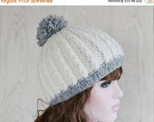 ON Sale Womens Cream Beanie Hat, Warm Chunky Hat, Knitted, Knit hat, UK, Xmas Gift Present