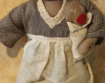 primitive rag doll and the baby