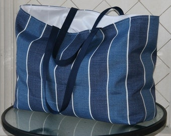 Shades of Denim Blue- White Stripe- Jumbo Beach Tote- Overnight Bag- Water and Mildew Resistant Interior-2 interior Pockets