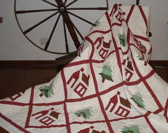 Hand Quilted , Quilt , Pieced House Blocks, Pine tree Blocks, Handmade,   Red Green 88 x 86