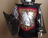 Knight Costume for children, size 4-6, five piece set - tunic, shield, sword, hood and crown
