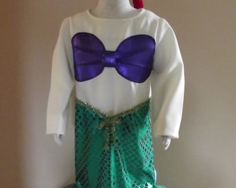 Mermaid costume, Disney Princess Ariel inspired, size 4/6, 3 piece set with costume, crown and hair braid