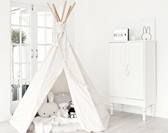 Large Play Teepee - Plain canvas tent and flags only | teepee tent | Canvas Teepee | Play Tent | Play House | Kids Teepee| Wigwam| Indoor