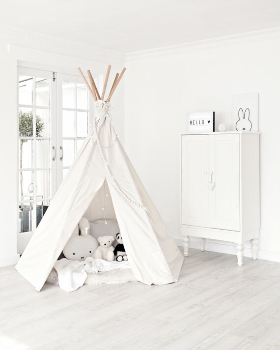 Like this item?  sc 1 st  Etsy & Large Play Teepee Plain canvas tent and flags only teepee