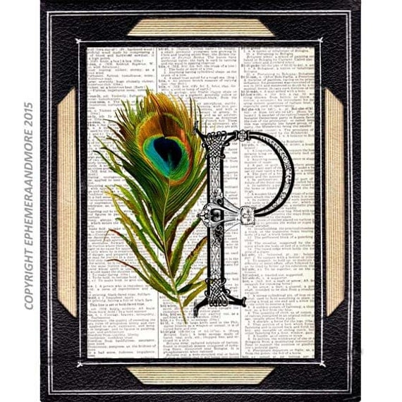 P ALPHABET LETTER Initial Monogram with green Peacock Feather art print wall decor sign poster on vintage dictionary book page 4x6,5x7, 8x10