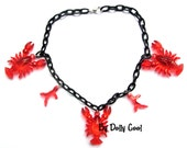 Lobster necklace with Coral 40s 50s inspired chain with 3D charms by Dolly Cool Black Red