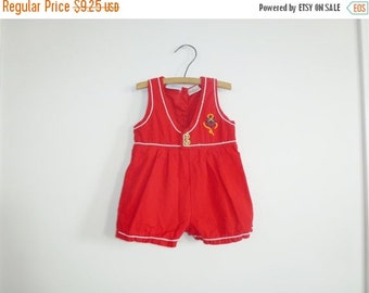 SALE // Vintage Red Nautical Baby Boy Shorts