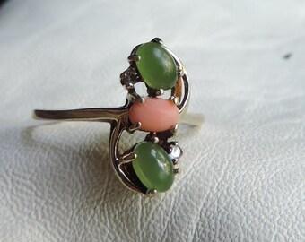 jade ring coral diamond ring fine 10k gold