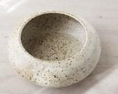 Wheel Thrown shallow White Speckled  Bowl