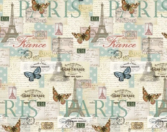 Price Reduced!  Cream/Multi Letters from Paris (CA-3007-4C) - BTY - David Texiles