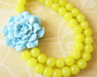 Statement Necklace Beaded Necklace Flower Necklace Yellow Jewelry Yellow Necklace Aqua Bridesmaid Jewelry Double Strand Bib