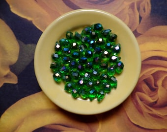 Green AB Faceted Teardrop Glass Beads, Tip Drilled, 9 X 6MM. Pack Of 50 Beads
