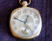 Vintage Antique Elgin Gold-Plated Open-Face Pocket Watch - Runs Strong Keeps Time - Edwardian Style - Raised Gold Numbers - Etched Face